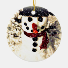 Holiday Let it Snow Adorable Snowman Ceramic Ornament at Zazzle