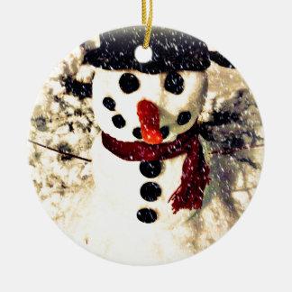Holiday Let it Snow Adorable Snowman Ceramic Ornament