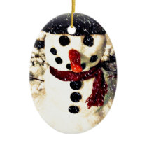 Holiday Let it Snow Adorable Snowman Ceramic Ornament