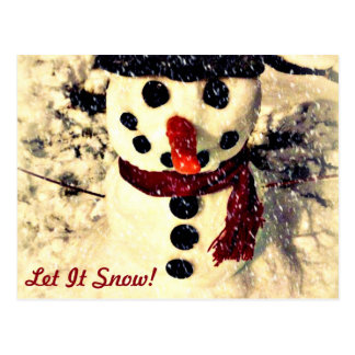 Holiday Let it Snow Adorable Snowman Postcard