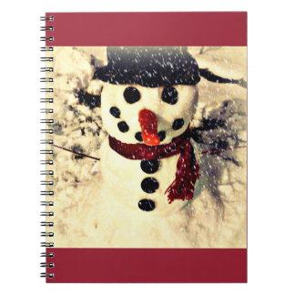 Holiday Let it Snow Adorable Snowman Spiral Notebook