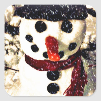 Holiday Let it Snow Adorable Snowman Square Sticker