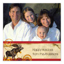 Holiday Letter on Back Moose Christmas Card