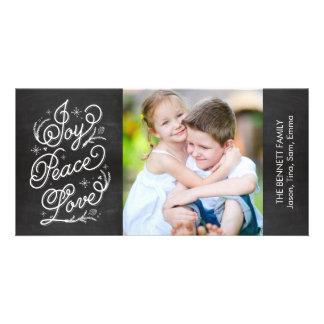 Holiday Lettering Photo Card - Joy Peace Love
