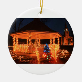Holiday Lights Bandstand Church Ceramic Ornament