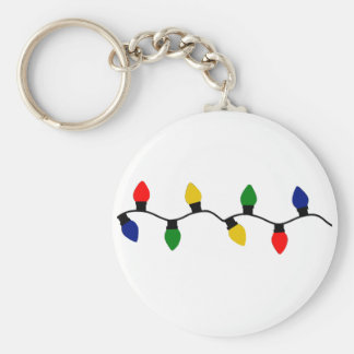 Holiday Lights Basic Round Button Keychain