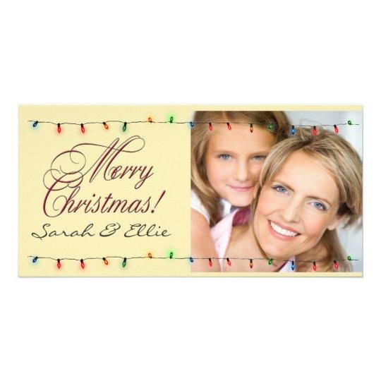 Holiday lights Christmas photo card template