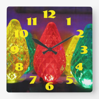 holiday Lights In Color Square Wall Clock