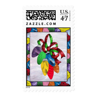 Holiday Lights in Stained Glass Postage