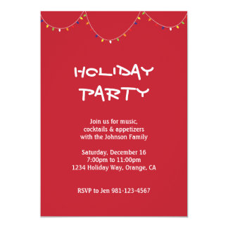 "Holiday Lights Invite Red 5"" X 7"" Invitation Card"