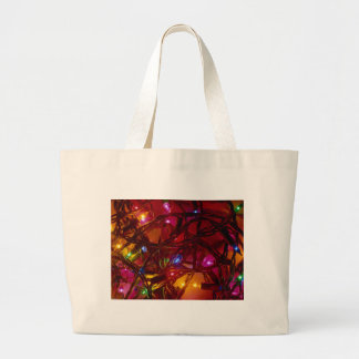 holiday lights large tote bag