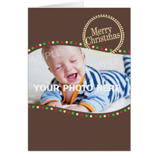Holiday Lights Modern Photo Brown Greeting Card