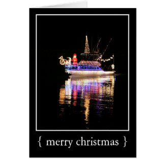 Holiday Lights on a Boat Merry Christmas Card