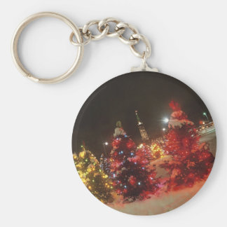 Holiday Lights Outside Keychain