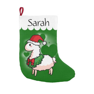 Holiday Llama Elf Small Christmas Stocking