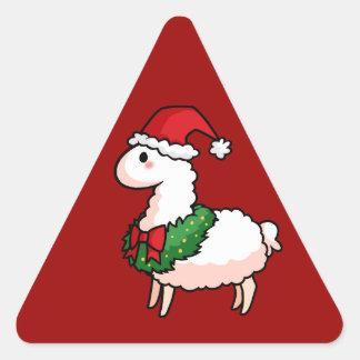 Holiday Llama Elf Triangle Sticker