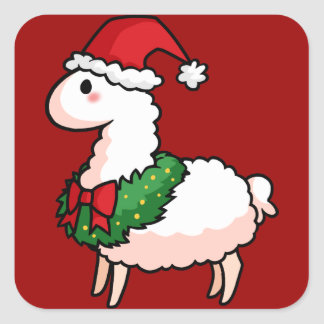 Holiday Llama Elf Square Sticker