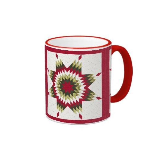 Holiday Lone Star Quilt Design Ringer Coffee Mug