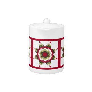 Holiday Lone Star Quilt Design Teapot
