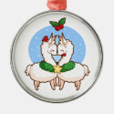 Holiday Love Llamas Round Metal Christmas Ornament