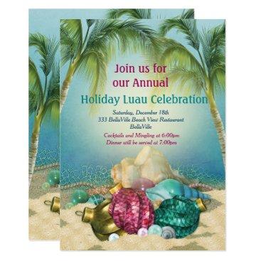 Beach Themed Holiday Luau Beach Party Invitations