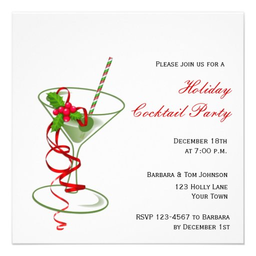 Holiday Martini Cocktail Party Invitation