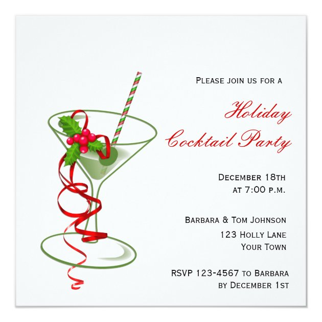 Christmas Cocktail Party Invitations.Holiday Martini Cocktail Party Invitation