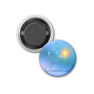 Holiday Merry Christmas Blue Ornament Light 1 Inch Round Magnet