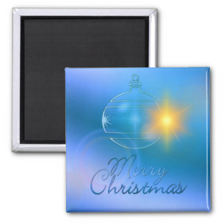 Holiday Merry Christmas Blue Ornament Light 2 Inch Square Magnet