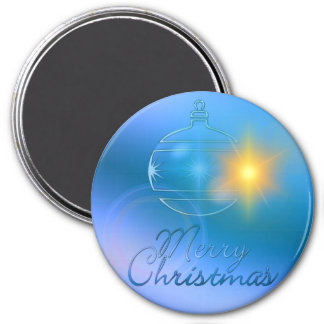 Holiday Merry Christmas Blue Ornament Light 3 Inch Round Magnet