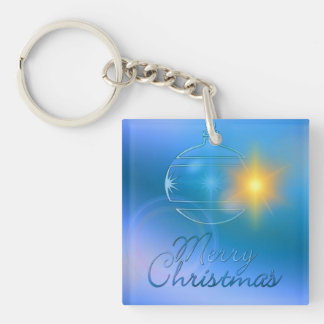 Holiday Merry Christmas Blue Ornament Light Double-Sided Square Acrylic Keychain