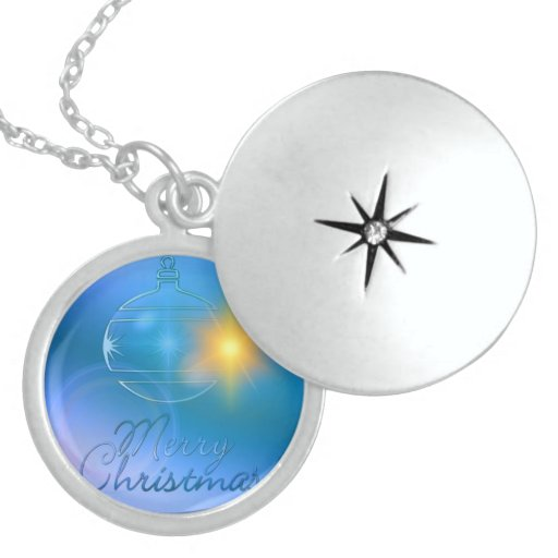 Holiday Merry Christmas Blue Ornament Light Locket