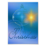 Holiday Merry Christmas Blue Ornament Light Poster