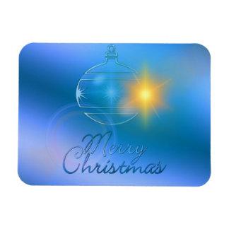 Holiday Merry Christmas Blue Ornament Light Rectangular Photo Magnet