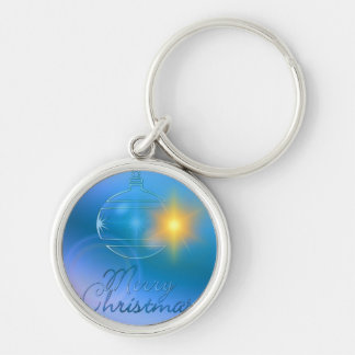 Holiday Merry Christmas Blue Ornament Light Silver-Colored Round Keychain