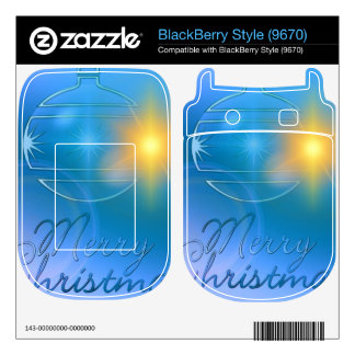 Holiday Merry Christmas Blue Ornament Light BlackBerry Style Decals