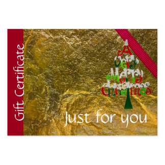 Holiday Merry Christmas Gift Certificate Large Business Card