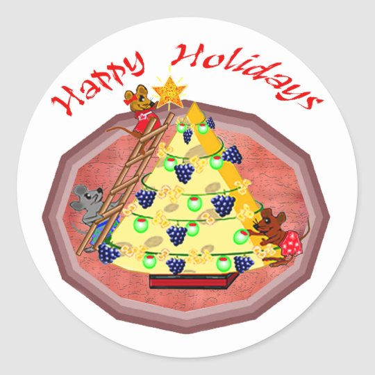 Holiday Mice Gifts Classic Round Sticker