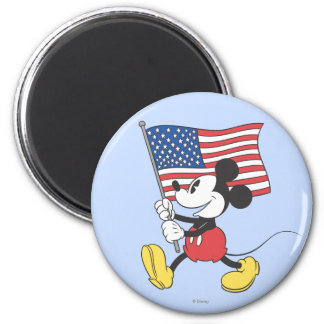 Holiday Mickey   Flag 2 Inch Round Magnet