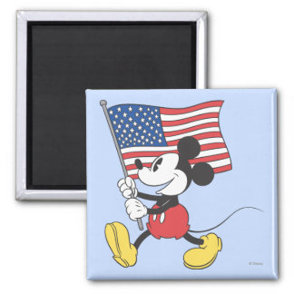 Holiday Mickey   Flag 2 Inch Square Magnet