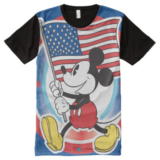 Holiday Mickey | Flag with Circle All-Over Print Shirt