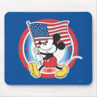 Holiday Mickey   Flag with Circle Mouse Pad