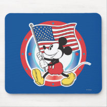 Holiday Mickey | Flag with Circle Mouse Pad