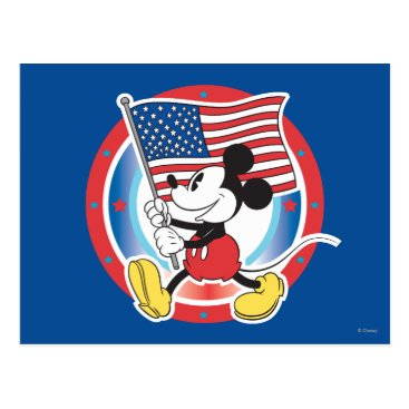 USA Themed Holiday Mickey | Flag with Circle Postcard