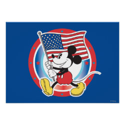 Holiday Mickey | Flag with Circle Poster