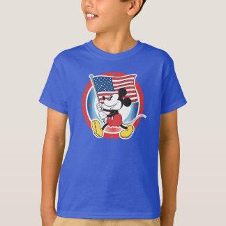 Holiday Mickey   Flag with Circle T-Shirt