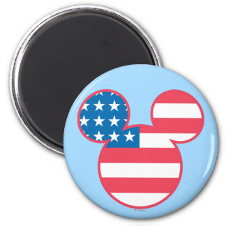 Holiday Mickey   Mouse Head Flag Icon 2 Inch Round Magnet