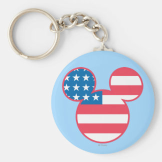Holiday Mickey   Mouse Head Flag Icon Basic Round Button Keychain