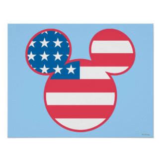 Holiday Mickey | Mouse Head Flag Icon Poster