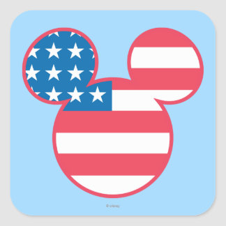 Holiday Mickey | Mouse Head Flag Icon Square Sticker